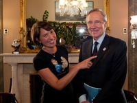 Donna Norton and Senate Majority Leader Harry Reid