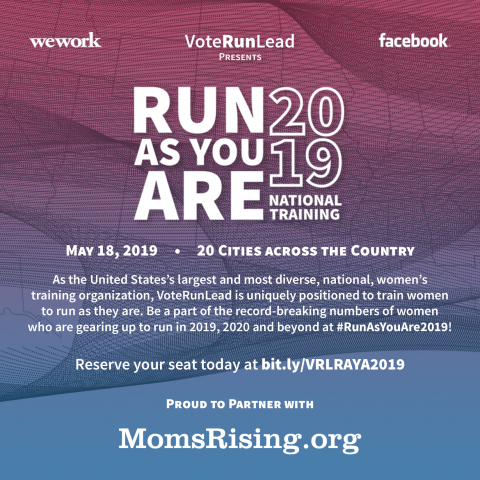 """A graphic image with a blue and red ombre background and text that lists the cities for the """"Vote Run Lead"""" """"Run As You Are"""" training.]"""