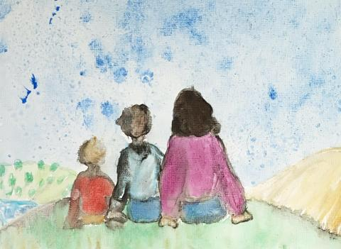 [IMAGE DESCRIPTION: A watercolor painting by a 9-year old, depicting three people sitting on a hill facing away]