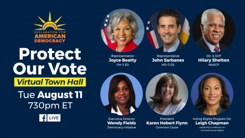 [IMAGE DESCRIPTION: An image with headshots of the speakers for the Protect our Vote townhall.]