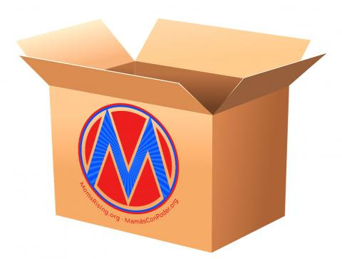 [IMAGE DESCRIPTION: Cardboard box with the top open and a MomsRising logo on the side.]
