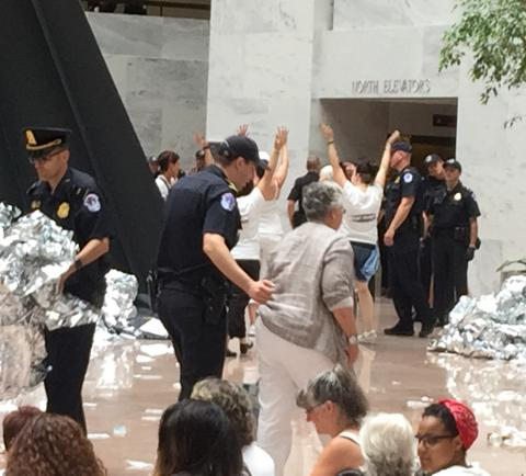 Deborah Weinstein, CHN's Executive Director, arrested in action at Senate office building.