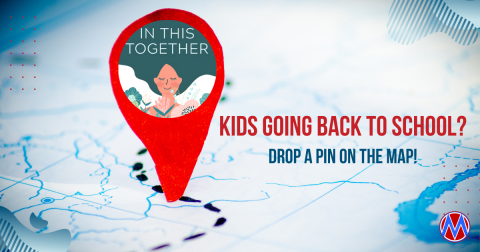 Map plus call to action to Drop a Pin if you have a child going back to school