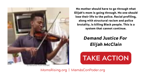 [IMAGE DESCRIPTION: A screenshot from MSNBC of Elijah McClain playing violin, and text asking people to sign on to demand justice for his murder by Aurora CO police.]