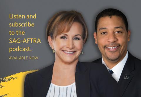 [IMAGE DESCRIPTION: A photo of actor and SAGAFTRA President Gabrielle Carteris with Executive Director David White.]