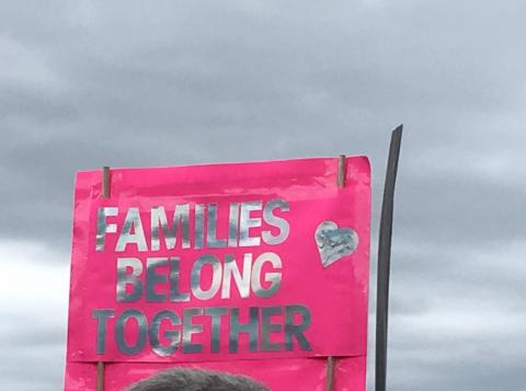 "Pink sign with silver letters with ""Families Belong Together"" on it"