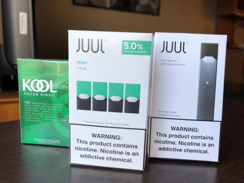 [IMAGE DESCRIPTION: JUUL vaping boxes]