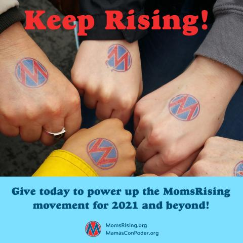 [IMAGE DESCRIPTION: A photo of hands in a circle with MomsRising's circle M logo]