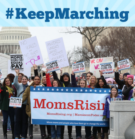 [IMAGE DESCRIPTION: A photo of a group of MomsRising supporters marching with a MomsRising banner]