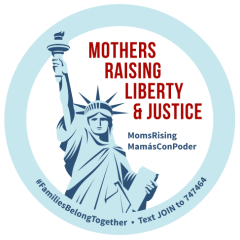 "[IMAGE DESCRIPTION: A graphic image of a light blue circle with the words ""Mothers Raising Liberty and Justice"" in red, and an image of the Statue of Liberty.]"
