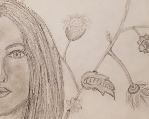 [IMAGE DESCRIPTION: A pencil drawing of a woman; the face is close up, and there is a garden drawn behind her.]