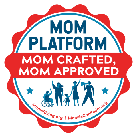 "[IMAGE DESCRIPTION: A graphic image of a round sticker with wavy edges that reads ""Mom Platform: Mom Crafted, Mom Approved""]"