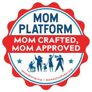 "[IMAGE DESCRIPTION: A graphic image of a round seal with wavy edges that reads ""Mom Platform: Mom Crafted, Mom Approved""]"