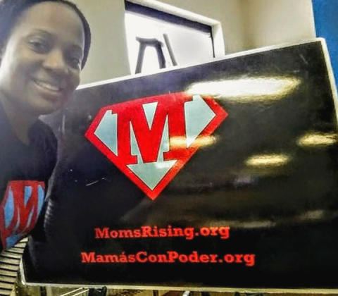 NaShonda Cooke, a North Carolina teacher and MomsRising member and volunteer, at a MomsRising event.