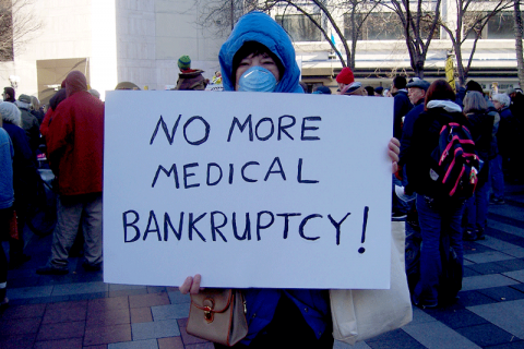 Author at health care rally