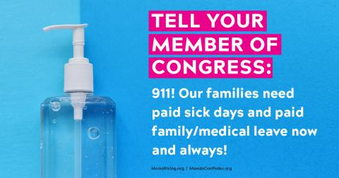 {image description: bottle of hand sanitizer with a message in support of paid leave}