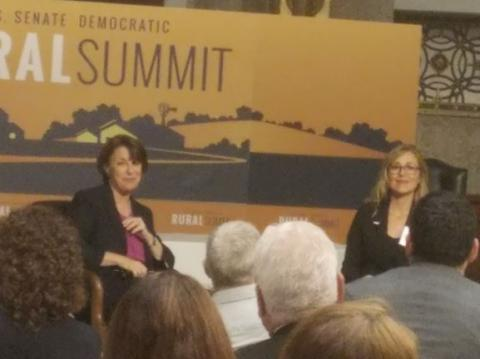 Senator Klobuchar (left) and Sarah Smarsh (right) at the Rural Summit