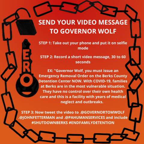 [IMAGE DESCRIPTION: A colorful graphic with instructions to send Gov. Wolf a video message to shut down Berks]