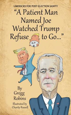 IMAGE DESCRIPTION: Cover of a book of humorous limericks, with drawings of Trump and Biden