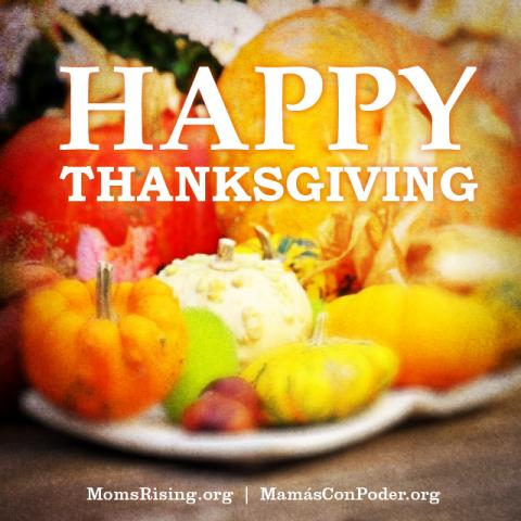 "[IMAGE DESCRIPTION: A photograph of orange pumpkin and yellow squash with text ""Happy Thanksgiving"" on it]"