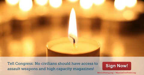 "[IMAGE DESCRIPTION: A photograph of a tealight candle with a bright flame. The text underneath reads ""Tell Congress: No civilians should have access to assault weapons and high capacity magazines!""]"