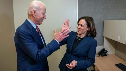 Joe Biden and Kamala Harris High-Five