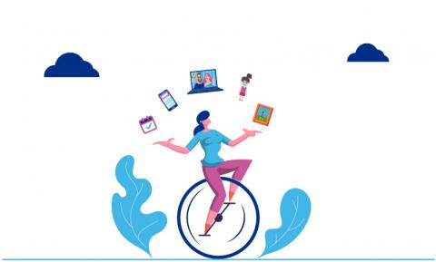 "a ""mom"" on a unicycle with pink pants and a blue shirt,  juggling a cell phone, a calendar, a laptop, a child and a to do list."