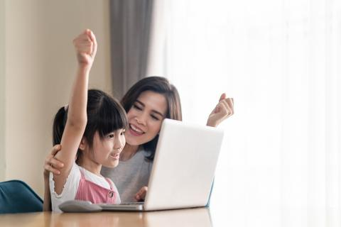 Mom and child cheering