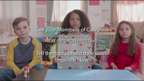 "Children hold up a Constitution puzzle with text ""Call your members of Congress"""