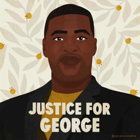 "[IMAGE DESCRIPTION: An artistic image of George Floyd that has the text ""Justice for George."" Image credit arielsinnaha. Used with artist's permission.]"