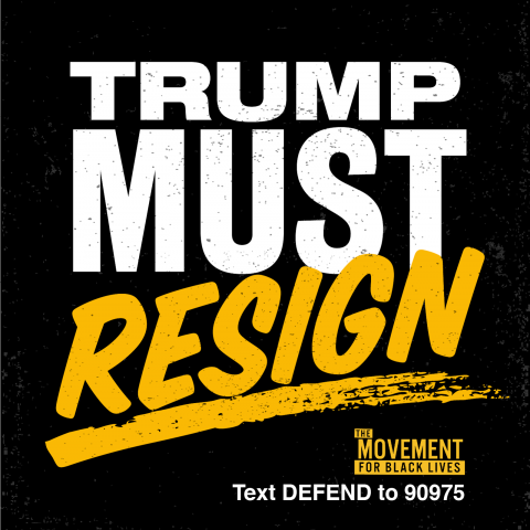 "[IMAGE DESCRIPTION: A graphic image in black, white, and yellow, that says ""Trump must resign.""]"