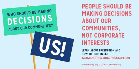 preemption takes power away from local communities signs