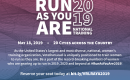 "[IMAGE DESCRIPTION: A graphic image with a blue and red ombre background and text that lists the cities for the ""Vote Run Lead"" ""Run As You Are"" training.]"