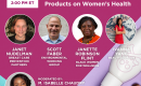 [IMAGE DESCRIPTION: Bright pink graphic showing faces of presenters for the webinar on personal care products and reproductive health.]