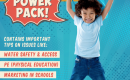 "Child jumping in the air with a big smile. Text reads: ""Power pack! Contains important tips on issues like water safety and access, physical education, marketing in schools, dual language learning"