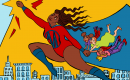 image showing an animated Black woman with a cape flying