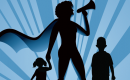supermom cartoon with megaphone