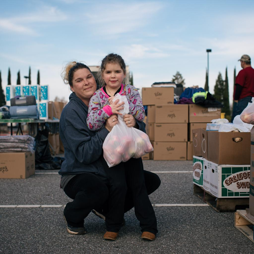 Mother and child at food bank