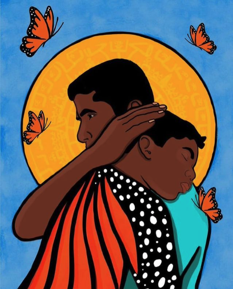 Father's and Refugee Day art from Mamas Con Poder Instagram