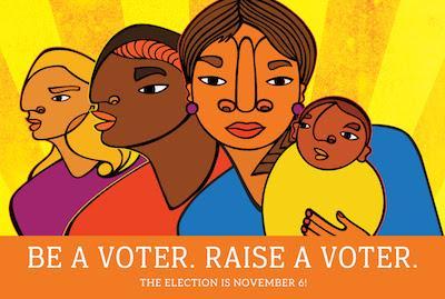 """Be a Voter. Raise a Voter."" Postcard"