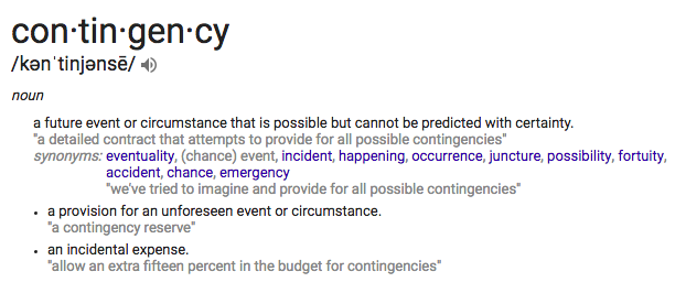 Dictionary definition of the word 'contingency'