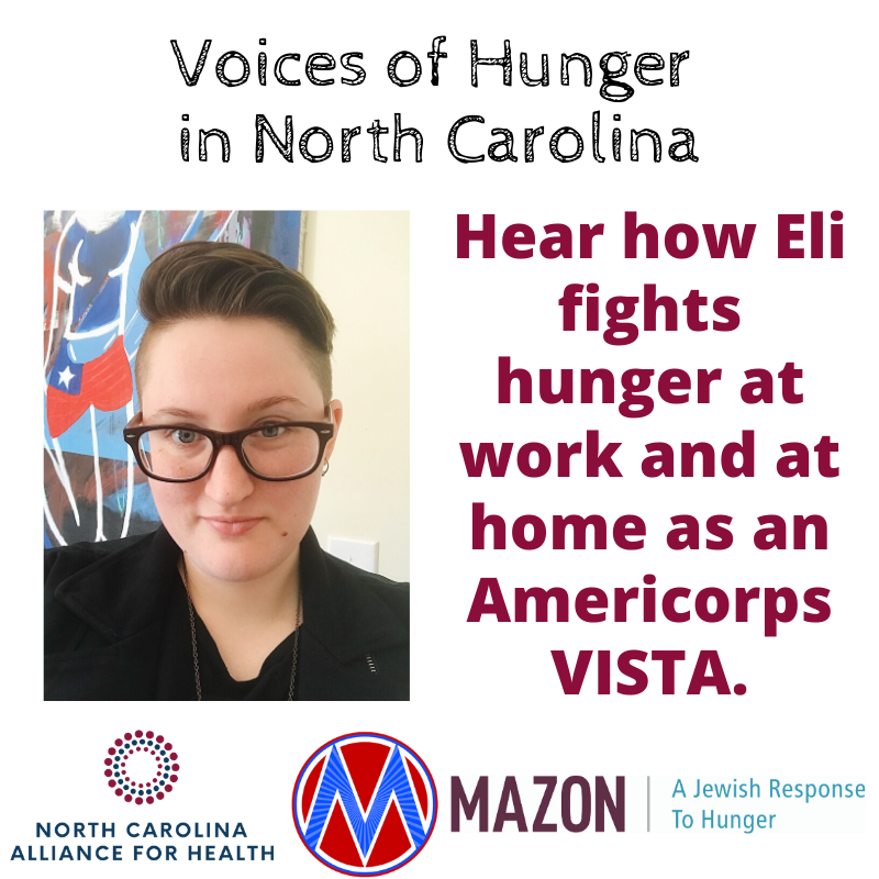 [IMAGE DESCRIPTION: A graphic with a photo of a person with short hair looking straight at the camera, and text that says 'Hear how Eli fights hunger at work and at home as an AmeriCorp VISTA]
