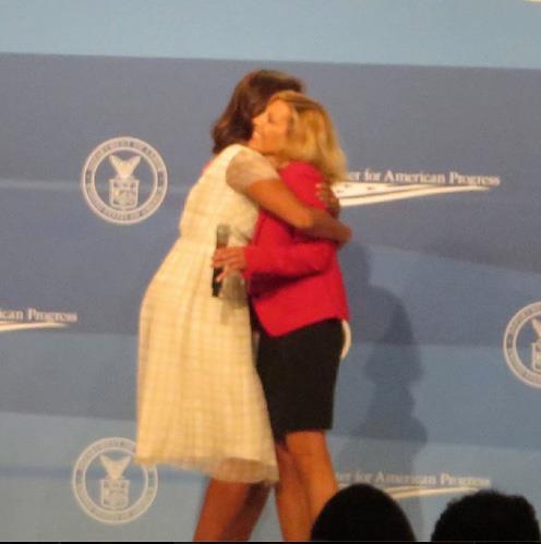 FLOTUS hugs MomsRising member Martina