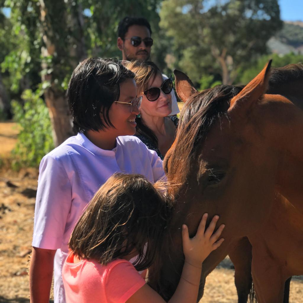 4 people petting a horse