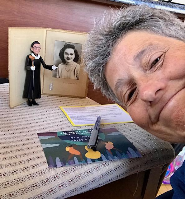 PHoto of MomsVote volunteer 2020 with Ruth Bader Ginsberg tribute