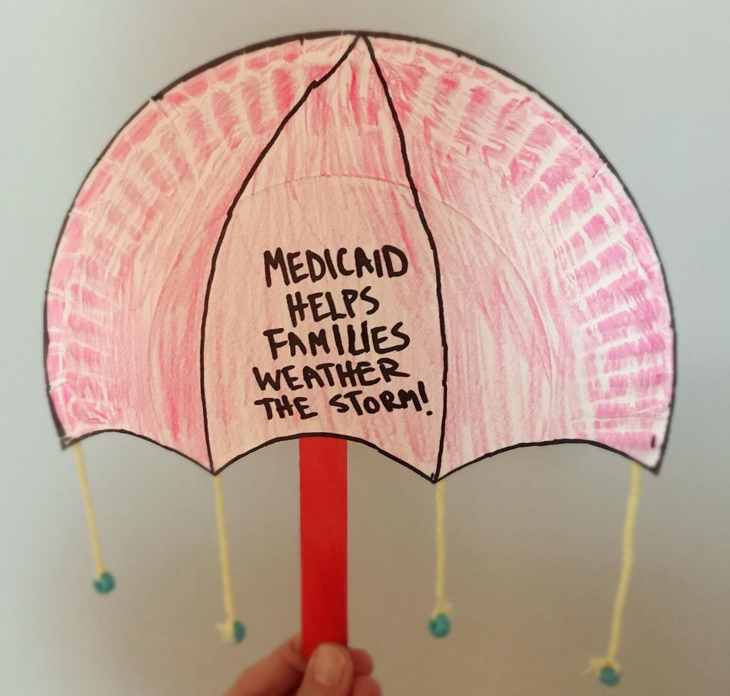 Medicaid Helps Families Weather The Storm craft made from paper plate and craft stick