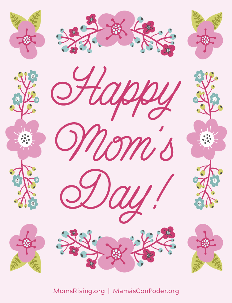 "[IMAGE DESCRIPTION: A pink background with a graphic image of flowers and text that reads ""Happy Mom's Day!""]"