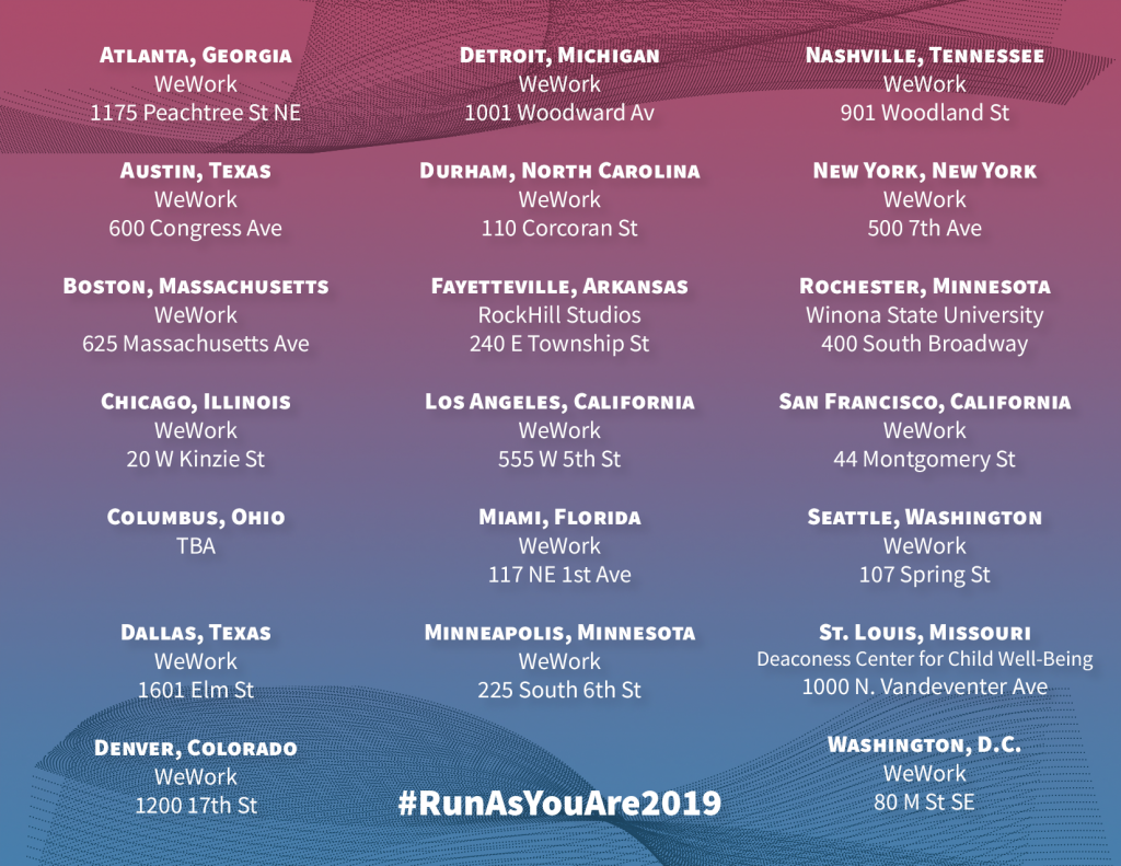 """[IMAGE DESCRIPTION: A graphic image with a blue and red ombre background and text that lists the cities for the """"Vote Run Lead"""" """"Run As You Are"""" training.]"""