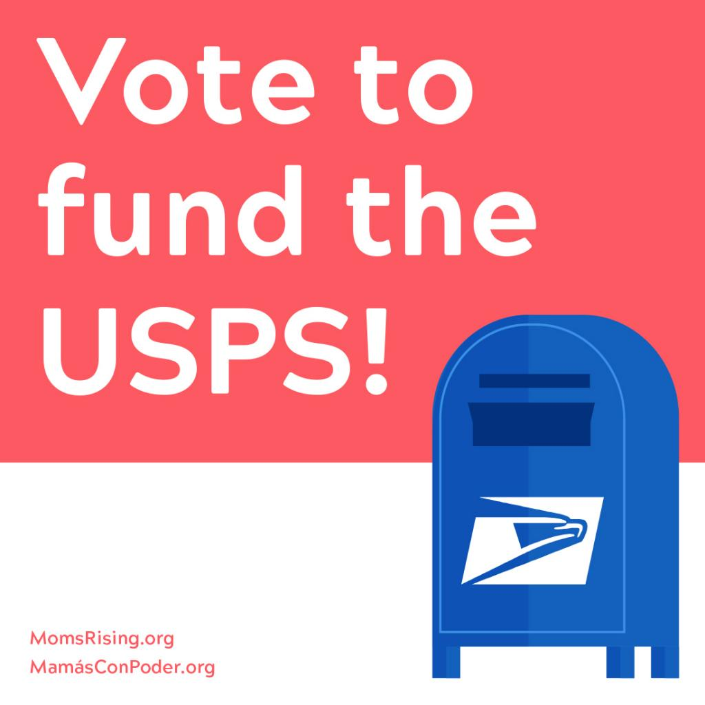 [IMAGE DESCRIPTION: A graphic of a USPS mailbox with the text Vote to Save the USPS.]