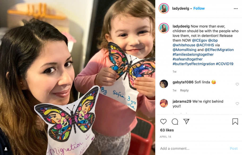 Diana's butterflies Instagram post urging the U.S. government to release detained migrant children.